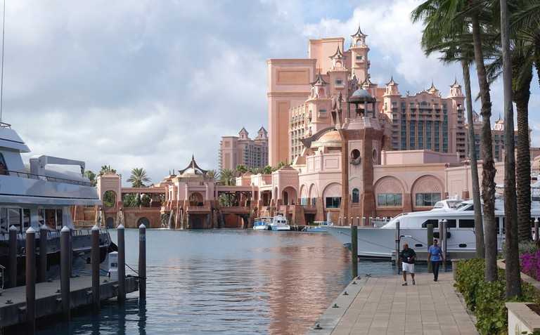 A view of Atlantis Resort from the water on Paraidse Island, Bahamas.