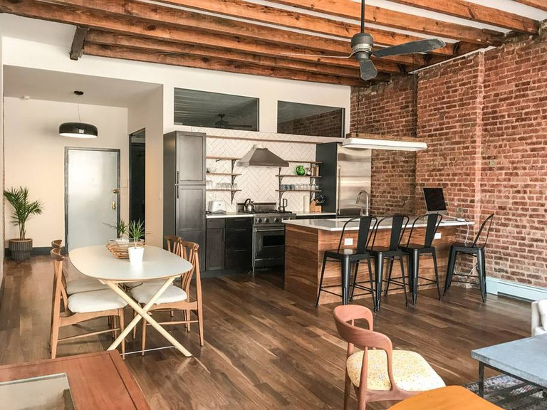 This spacious apartment overlooks historic Orchard Street