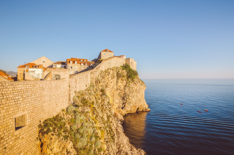 Old town of Dubrovnik with calm sea, Croatia.