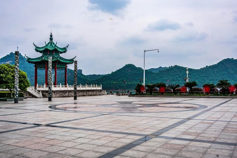 Pavilion and square in Binjiang riverside park along the Yangtze river in Yichang Hubei China HDR
