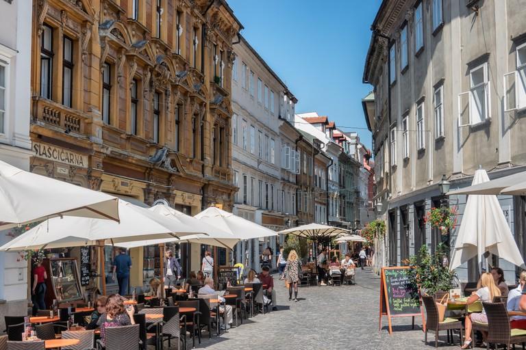 Cafes and resturants in Ljubljana city, Slovenia.