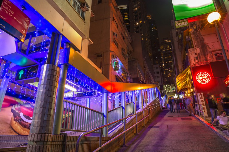 Peak bar and Central-Mid-Levels escalator in Shelley and Staunton St, Soho district, Central Hong Kong.