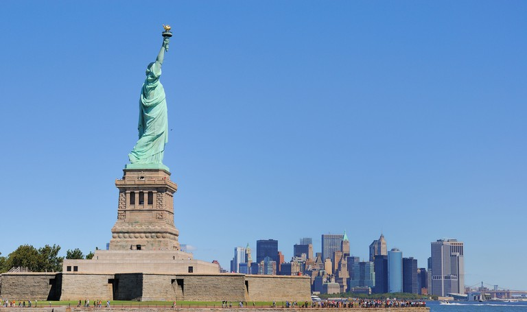 The Statue of Liberty on Liberty Island.