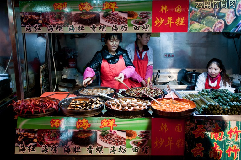 The stalls on Wangfujing Snack Street sell food such as scorpions, silkworms and wasp larvae