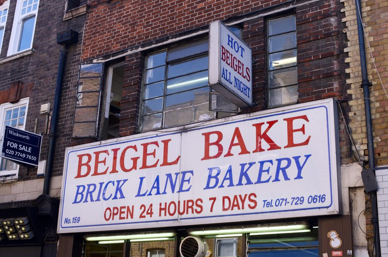 24-hour bakery known for traditional Jewish-style filled bagels in Brick Lane