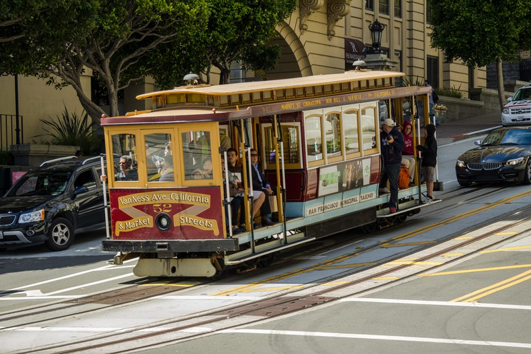 Cable car driving downhill in San Francisco