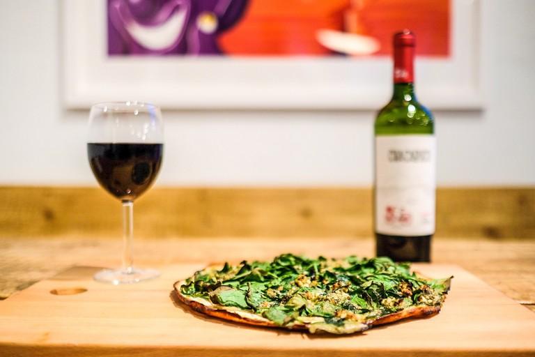 Gluten Free Pizza Verde with Organic Wine