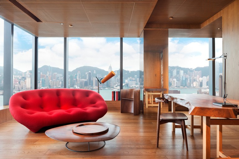 The Hotel designer Suite by Vivienne Tam boasts undisturbed views of the city and harbour