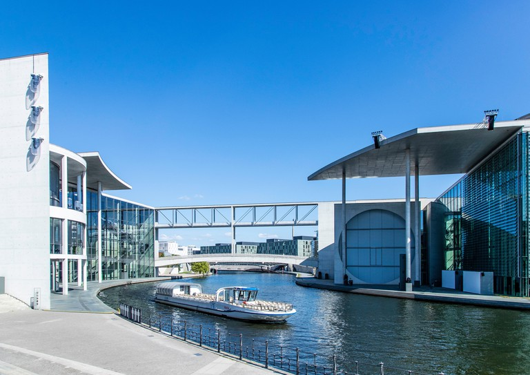 The Marie-Elisabeth-Lüders-Haus is situated along the River Spree