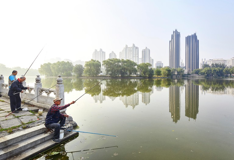 View of Chaoyang Park Plaza from the lake of Chaoyang Park, Beijing