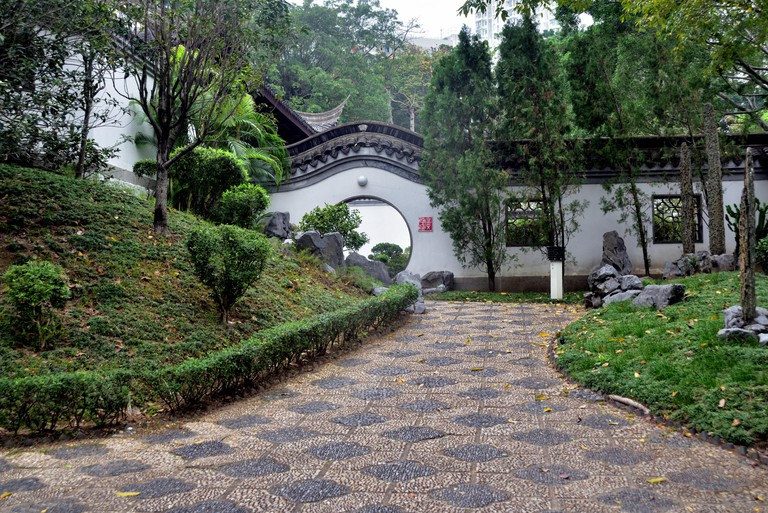 Chinese garden in Kowloon Walled City Park, Hong Kong.
