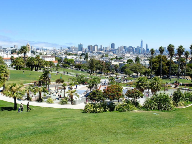 A view of the San Francisco skyline from Mission Dolores Park