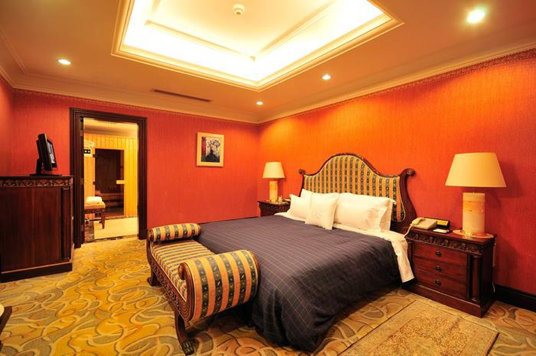 The rooms are decorated warmly for optimum comfort and all feature 32-inch smart Tv's. Opt for a suite with a separate living space or a room with a private whirlpool tub and sauna, Anting Villa Hotel, Shanghai