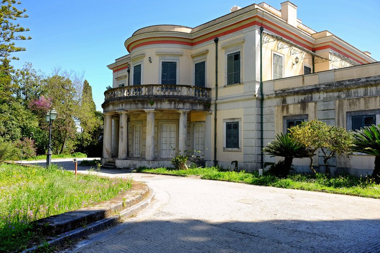 The Mon Repos Palace wit its park in Corfu town, Greece