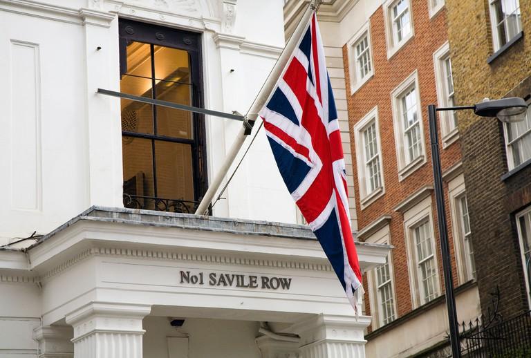 Union Jack Flag hanging in Savile Row, Mayfair, London.