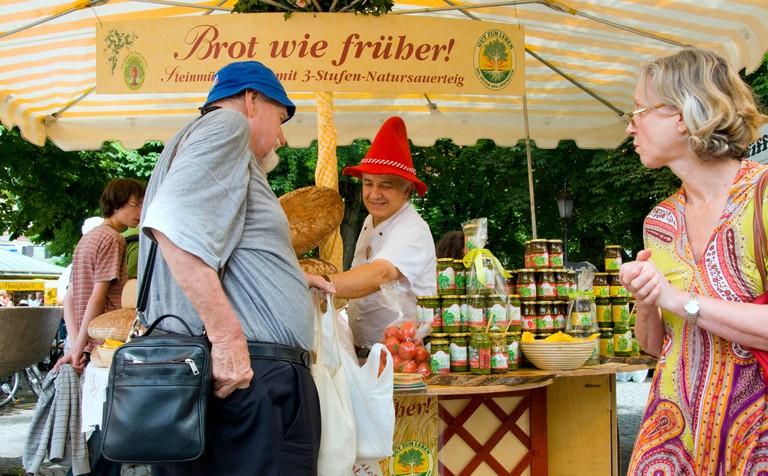 Bread seller at the Viktualienmarkt in Munich