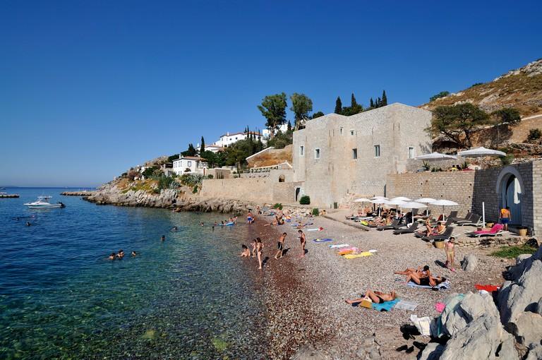 Mikro Kamini beach, Castello cafe, Hydra island, Greece