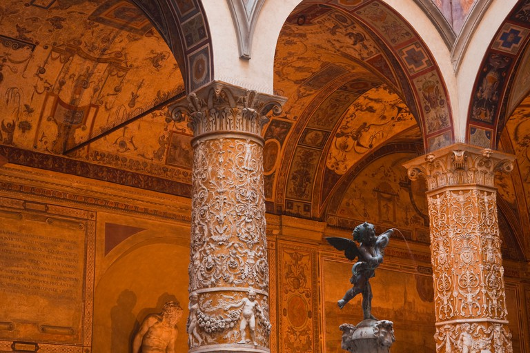The courtyard of Palazzo Vecchio and the fountain of Putto with Dolphin by the artist Verrocchio.