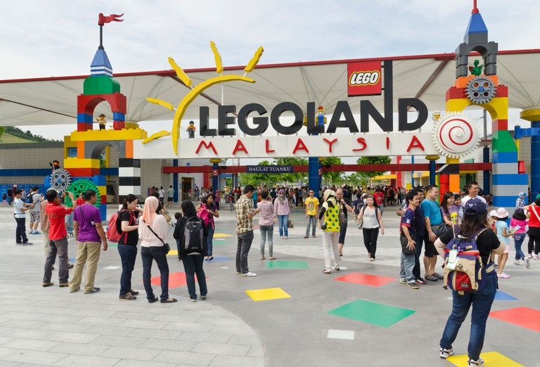People in front of the Legoland Malaysia sign. Image shot 11/2012. Exact date unknown.