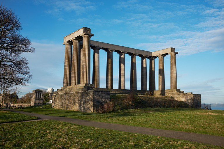 The National Monument of Scotland stands proudly on Calton Hill