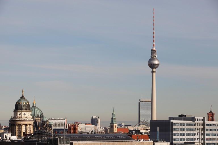Berlin's TV tower (Berliner Fernsehturm) looms large on the city's skyline