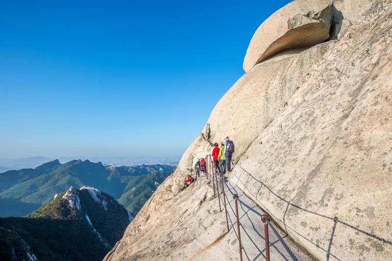 Climbers and Tourists on Bukhansan mountain in Seoul, South Korea.