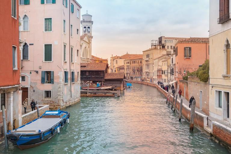 Squero di San Trovaso, workshop for gondolas in Dorsoduro, Venice, Italy, Europe