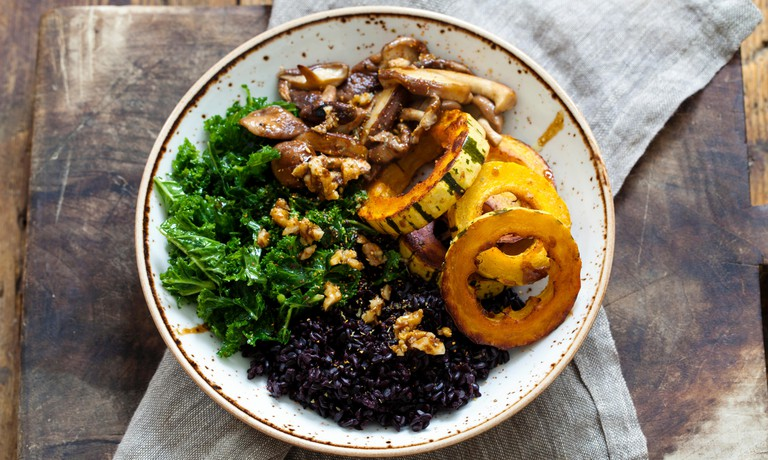 Dish made with seasonal vegetables such as winter squash and shiitake mushrooms