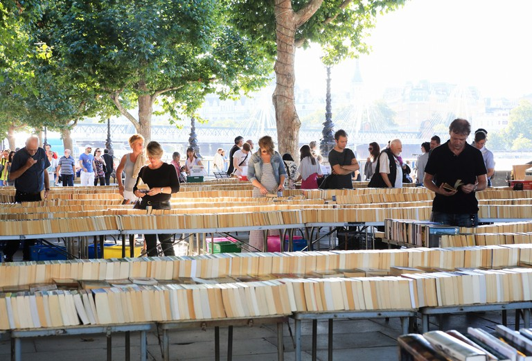 The Southbank book market under Waterloo Bridge on Queen's Walk, on a warm summer's day in London, UK. Image shot 08/2012. Exact date unknown.