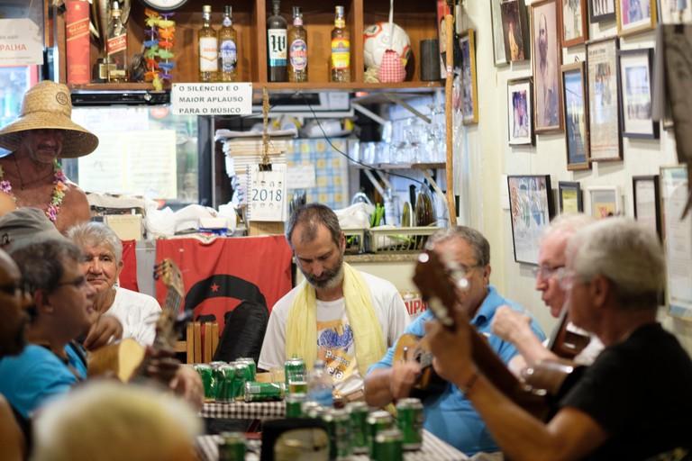 A Bossa Nova, Choro or Samba band playing live acoustic music at the Bip Bip - a long-established Samba, Choro and Bossa Nova venue - in Copacabana