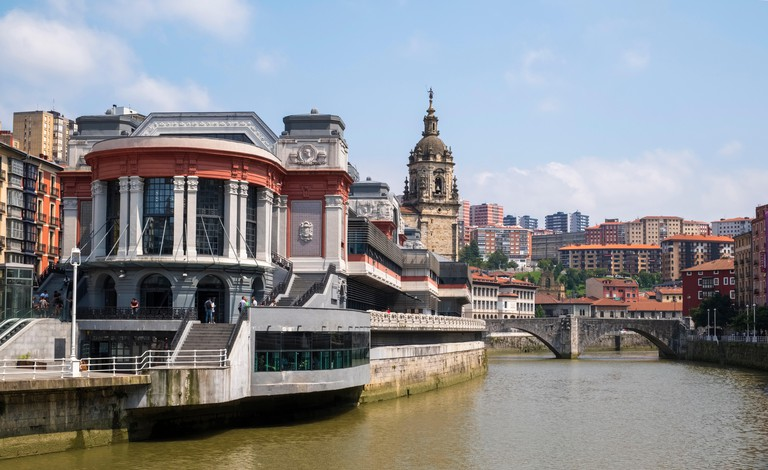 Exterior of the Mercado de la Ribera along the Nervion River, Bilbao, Spain, Europe
