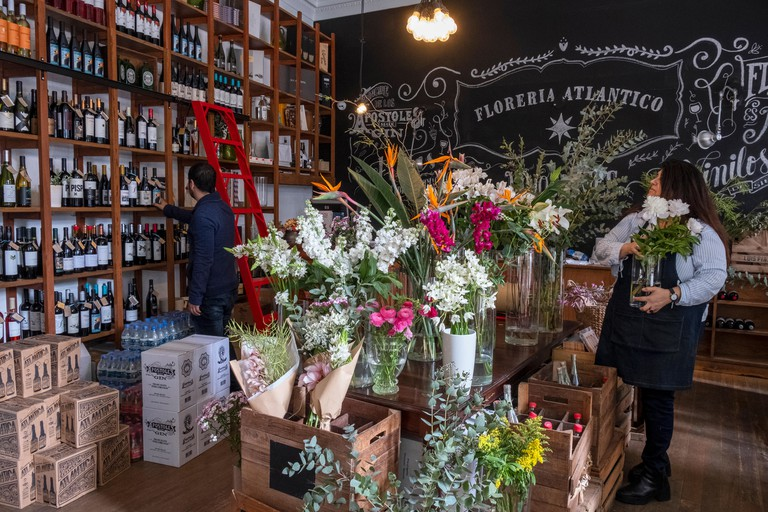 The Floreria Atlantico flower shop, restaurant, bar and wine store in Buenos Aires, Argentina