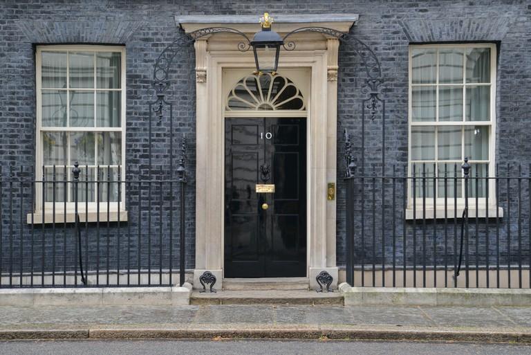 The door of 10 Downing Street, London.