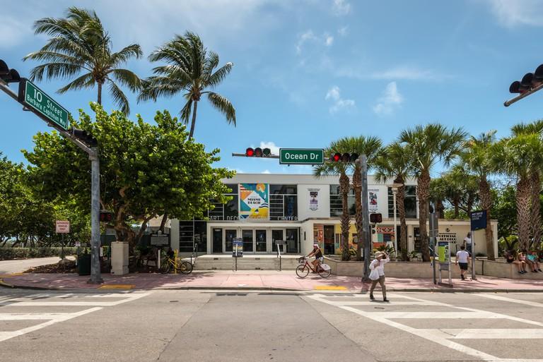 Miami, FL, USA - April 19, 2019: The Art Deco Museum on Ocean Drive at the historical Art Deco District of Miami South Beach in Miami, Fl, United Stat