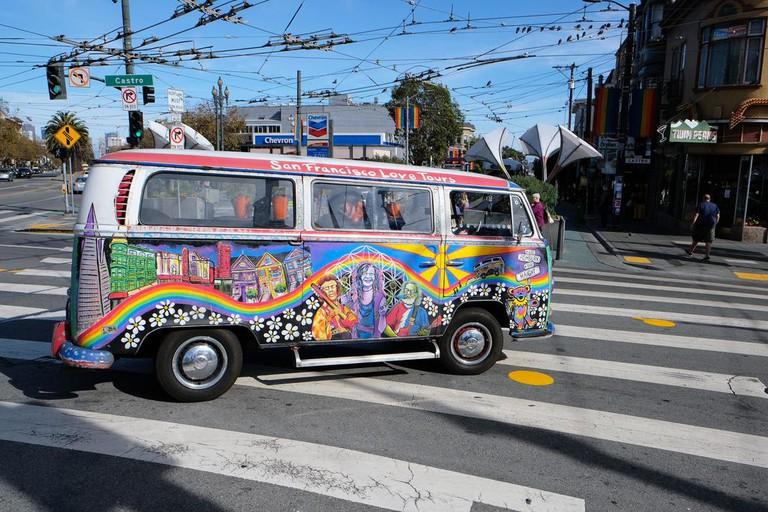 The San Francisco Love Tour bus pays homage to the city's counterculture legends