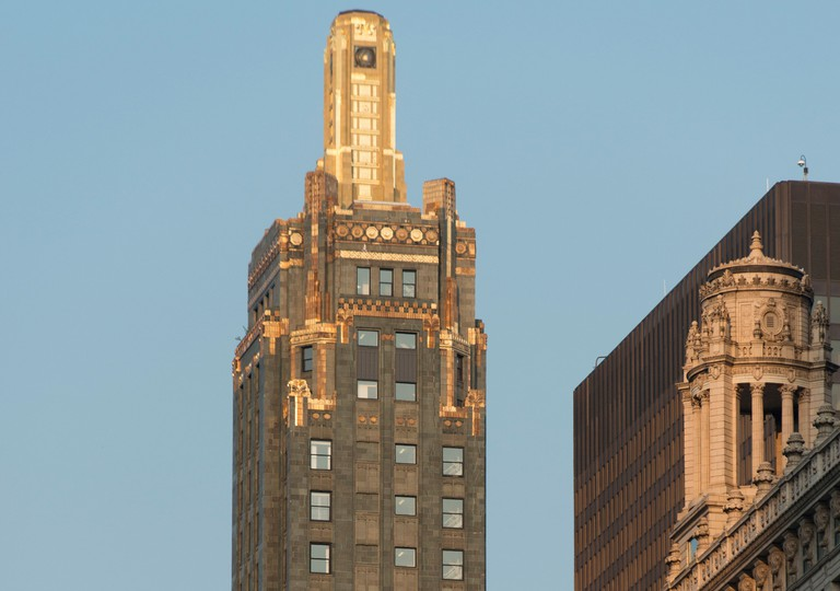 The Carbide and Carbon Building's spire is coated in a thin layer of 24-carat gold