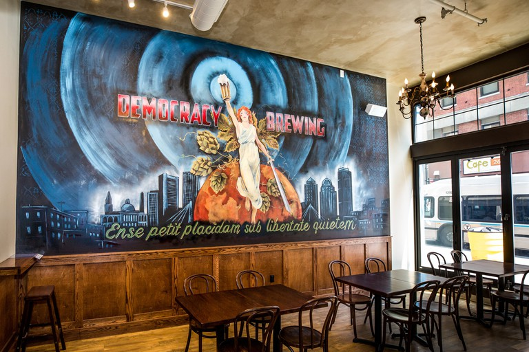 Democracy Brewing's signature brews include Suffragette pale ale and Fighting 54th saison