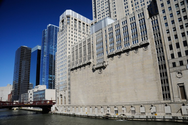 The Civic Opera Building overlooks the Chicago River