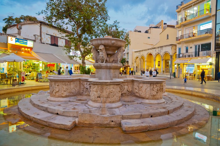 Morosini fountain, Lions Square, Eleftheriou Venizelou, Heraklion, Crete island, Greece