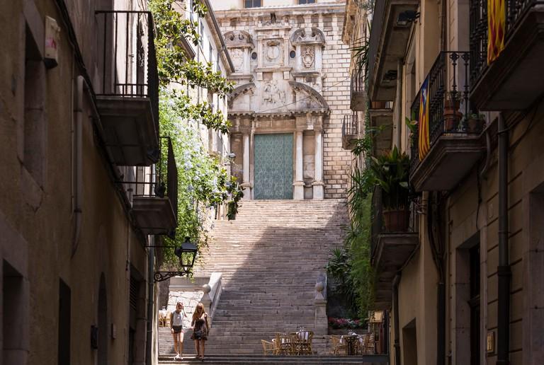 Steps of Sant Marti Sacosta Church, Barri Vell Old Quarter, Girona