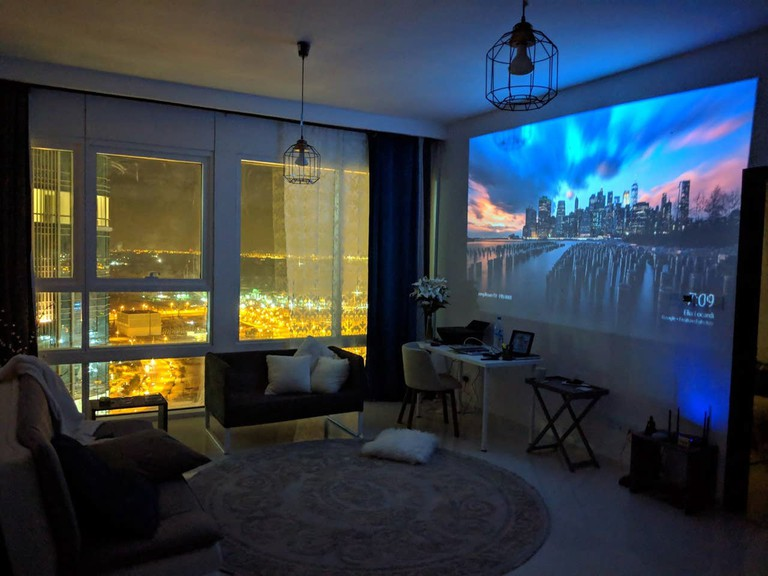 This high-tech space boasts views of the city centre