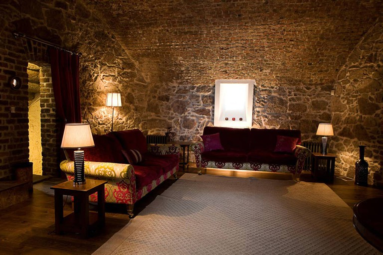 Original stone walls inside the Sutton Martello tower