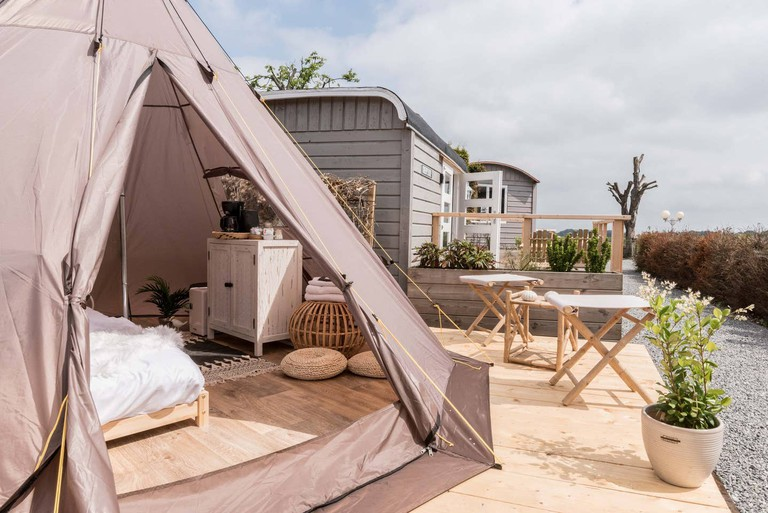 Camping in a tipi
