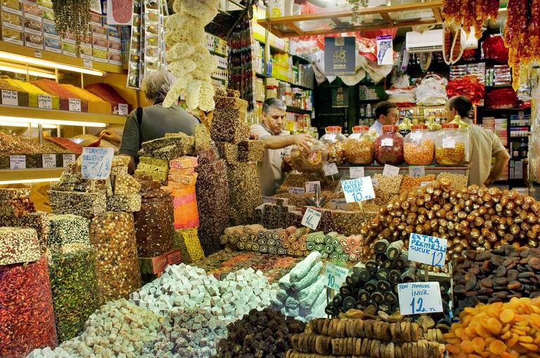 Turkish delights in Spice Bazaar, Istanbul, Turkey.