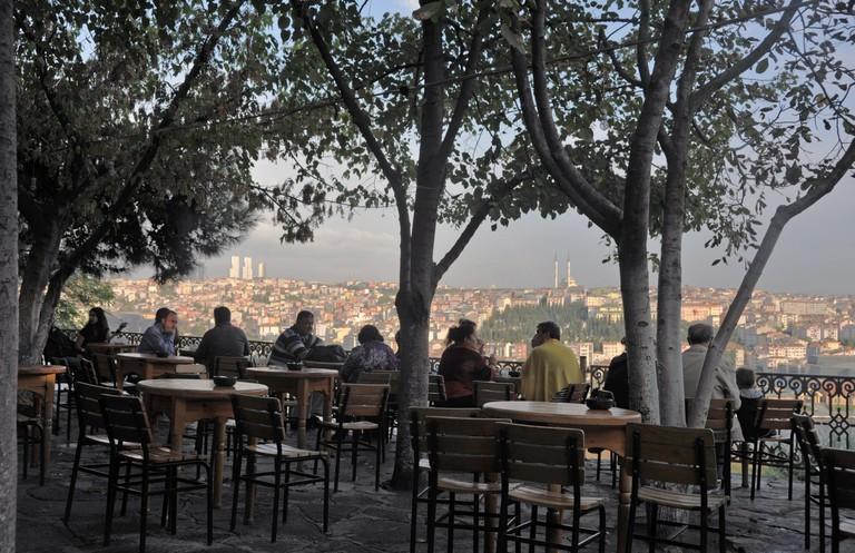 Cafe at Pierre Loti, Istanbul, Turkey.