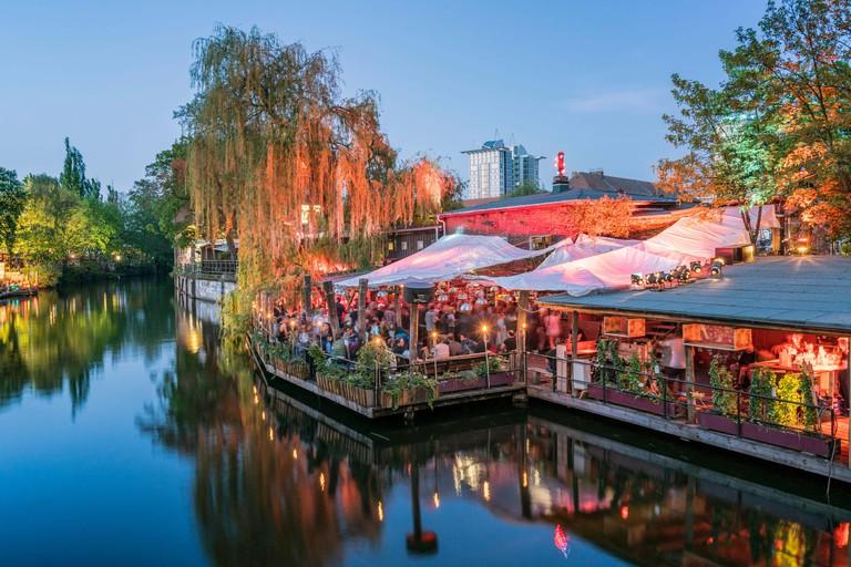 Clubs at Spree Canal, Freischwimmer, Club der Visionaere, beach bar, Kreuzberg, Berlin