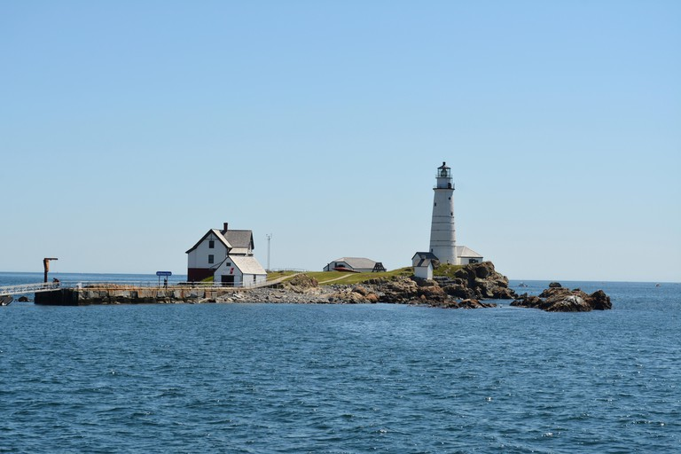 The oldest light station in the U.S., Boston Light.  Sitting on the edge of Boston Harbor atop Little Brewster Island.