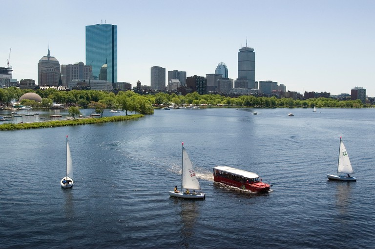 Sailboats and a Duck Tour boat in Boston
