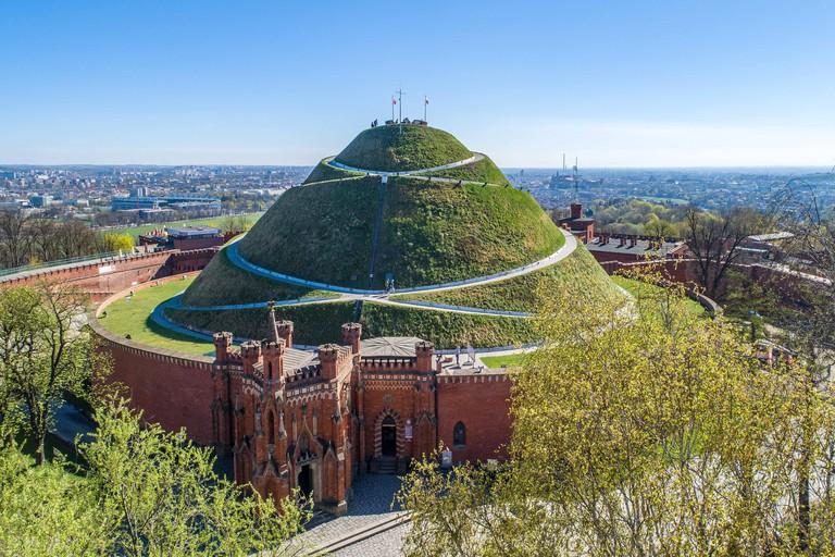 Kosciuszko Mound (Kopiec Kosciuszki). Krakow landmark, Poland. Erected in 1823 to commemorate Tadedeusz Kosciuszko, and the chapel of St. Bronislawa.
