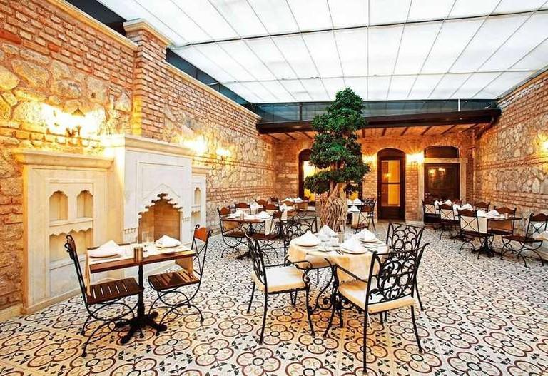 Courtyard restaurant and bar at Celine Hotel